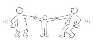 Zwei abstrakt dargestellte Personen ziehen in entgegengesetzter Richtung an den Händen eines in der Mitte dargestellten Kindes