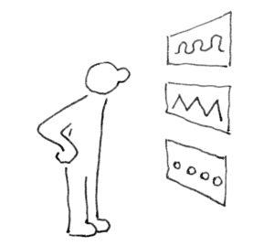 Abstrakt dargestellte Person betrachtet Datenblätter auf Wand