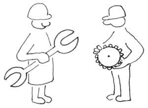 Zwei abstrakt dargestellte Personen, die linke hält einen großen Schraubenschlüssel in der Hand, die rechte ein Zahnrad