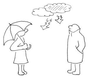 Über zwei abstrakt dargestellten Personen schwebt eine Gewitterwolke, die linke Person trägt einen Regenschirm